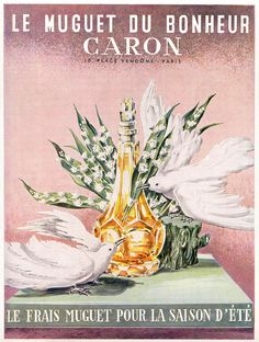 Caron Muguet (Lily of the valley) perfume vintage advertising poster