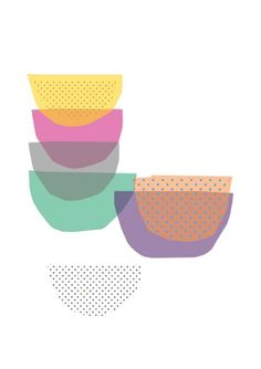 Coloured bowls  print by mrseliotbooks on Etsy, £14.50