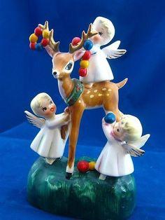 Vintage Lefton 3 Baby Christmas Angels Decorating Reindeer with Garland 1950'S