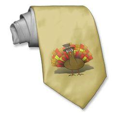 Thanksgiving Cartoon Turkey Pilgrim Ties