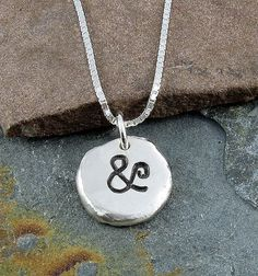 Ampersand Necklace,Organic Rustic Recycled Sterling Silver Jewelry/FREE SHIPPING