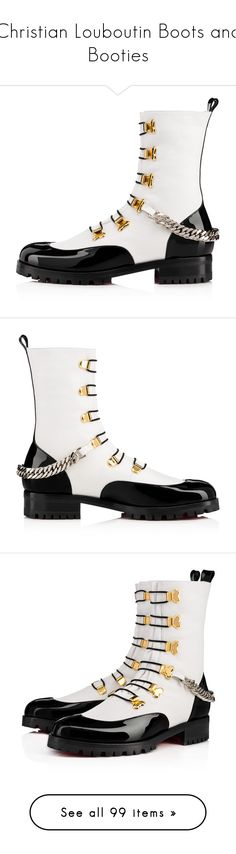 """Christian Louboutin Boots and Booties"" by haikuandkysses on Polyvore featuring shoes, black and white patent leather shoes, flat patent leather shoes, flat shoes, christian louboutin shoes, black and white oxford shoes, evening shoes, patent leather shoes, holiday shoes and boots"