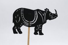 Rhinoceros Shadow Puppet - Hand Cut