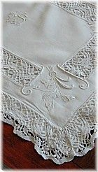 Antique linen and Cluny lace sham -- amazing white work embroidery