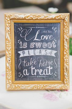 Love Is Sweet Chalkboard Wedding Sign  5x7 by SaraBishopDesigns, $15.00
