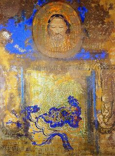 Evocation Aka Head Of Christ Or Inspiration From A Mosaic In Revenna by Odilon Redon - Reproduction Oil Painting Odilon Redon, Ouvrages D'art, Art Et Illustration, Post Impressionism, New Blue, Religious Art, Beautiful Paintings, Oeuvre D'art, Kitsch