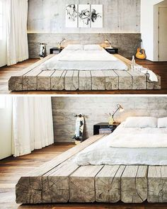 love this idea for a platform bed with a modern yet rustic twist!!