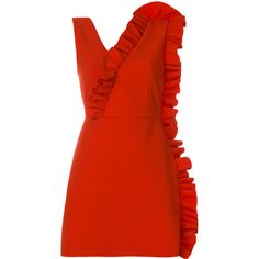 MSGM ruffled short dress ($535) ❤ liked on Polyvore featuring dresses, red, red party dresses, red mini dress, v neck cocktail dress, short red dress and party dresses