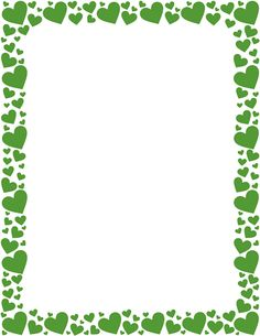 Printable green heart border. Free GIF, JPG, PDF, and PNG downloads at http://pageborders.org/download/green-heart-border/