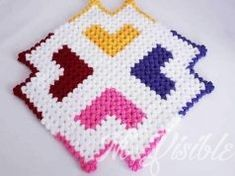 Colorful Hearts Square Fiber Model Making - Jewelry World Baby Knitting Patterns, Crochet Patterns, Baby Shower Niño, Macrame Curtain, Diy Earrings, Bunt, Jewelry Making, Blanket, How To Make