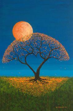 Luna ilumina árbol.