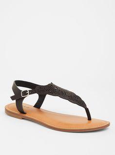e0a14c719fc Black Laser Cut T-Strap Sandal (Wide Width)