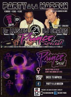 """Création by JeeOne Prod. (Flyer """"front & back"""", Party A La Maison """"Prince Special"""") pour Shaker Llisten (Dr. Llisten)"""