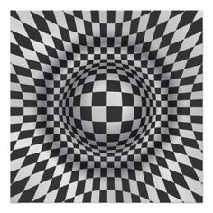 Black and White Illusions | Black white op art optical illusion abstract print