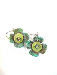 Solid Copper, Copper Jewelry, Metal Earrings, Flowers, Enamel on Copper, Water Bath Patina. $28.00, via Etsy.
