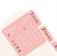 2015 Pink Calendar Index Sticker