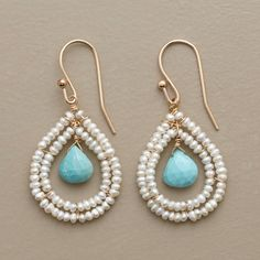 """BLUE BROILETTE EARRINGS -- Turquoise briolette beads dangle from seed pearl teardrops hung on 14kt goldfill. French wires. 1-1/2""""L."""