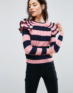 ASOS Ruffle Sleeve Sweater in Stripe - Multi