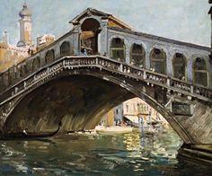 "Australian Artist Sir Arthur Streeton, ""Rialto Bridge Venice"" Circa 1908."
