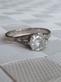 Stunning Art deco 1 carat Diamond 18ct white gold Solitaire ring   eBay
