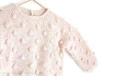 Ravelry: PopCorn Sweater pattern by Marta Porcel Diy Knitting Socks, Sweater Knitting Patterns, Knitting For Kids, Baby Knitting, Knit Baby Sweaters, Knitted Baby Clothes, Girls Sweaters, Baby Fabric, Baby Dress