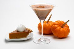 Cocktail recipe for a Pumpkin Pie Martini, a delicious and creamy drink that tastes like a pumpkin pie and uses vanilla vodka and RumChata liqueur.