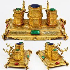Antique Dore Bronze Inkwell, Desk Stand, French or Russian? Precious Gems, Malachite.  Photo credit: Antiques & Uncommon Treasure