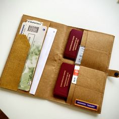 Lust for travel meets sewing addiction: a travel case made of SnapPap - Diy Fabric Basket Diy Wallet Felt, Papel Tyvek, Sewing Tutorials, Sewing Projects, Clutch Wallet, Pouch, Leather Wallet Pattern, Purse Tutorial, Tablet