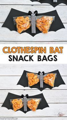 Clothespin Bat Preschool Snack - I Heart Arts n Crafts Clothespin Bat Preschool Halloween Snack. These would be great for a kids Halloween party at school! Dulceros Halloween, Halloween Class Party, Halloween Birthday, Holidays Halloween, Halloween Themes, Halloween Treats For School, Halloween Treats For Kids, Fall Party Ideas For Kids School, Halloween Decorations