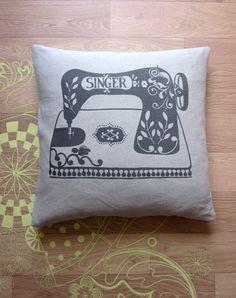 Singer heritage sewing machine printed linen cushion