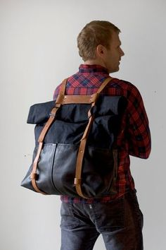 The HotShot Large Weekender Bag Backpack in Leather and by AwlSnap