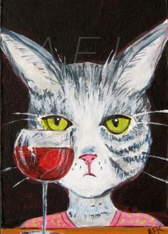 Gray Tiger Cat with Red Wine Art Print  Funny by SilentMyloStudio
