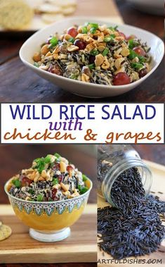 Wild Rice Salad with Chicken and Grapes is perfect salad for pot lucks and picnics. All the ingredients are brought together by a light and flavorful dressing. via @https://www.pinterest.com/artfuldishes/