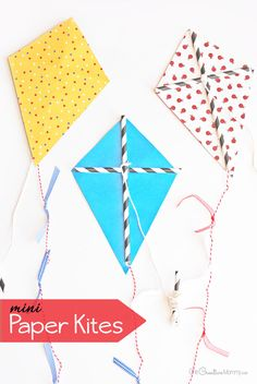 Get your kids outdoors and bust boredom this summer with easy mini paper kites! Such a fun kids craft that the whole family can do together!