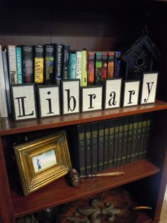 Library Sign Wooden Block Set Made With by UniquelyDifferentToo, $59.50