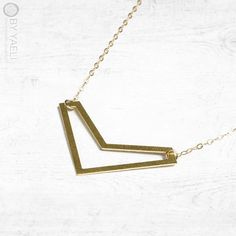 V necklace Chevron necklace triangle necklace geometric by ByYaeli