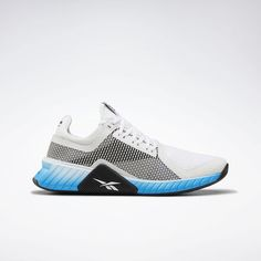 Reebok Shoes Men's Flashfilm Trainer Shoes in White/Bright Cyan/Black Size 7 - Training Shoes Flat Lace Up Shoes, On Shoes, Shoes Men, White Reebok, Mens Training Shoes, Buy Shoes Online, Sports Shoes, Shoes Sport, Sneakers Fashion