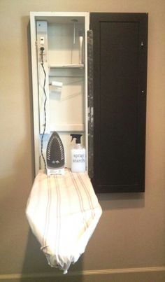 Ironing board cupboard with integrated electrical for laundry room or even master bathroom. I love the idea of an ironing board cabinet so it's easier to take the ironing board out and in. Laundry Closet, Small Laundry, Laundry In Bathroom, Master Bathroom, Laundry Rooms, Boys Closet, Utility Closet, Laundry Drying, Mud Rooms