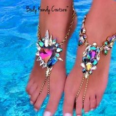 Jeweled Crystal Barefoot Sandals. Crystal Beach Wedding Foot Jewelry by Body Kandy Couture. Coordinating Pieces can be made.