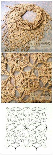 Beautiful crochet shawl with crochet diagram Crochet Motifs, Crochet Diagram, Crochet Chart, Crochet Squares, Crochet Stitches, Crochet Triangle, Triangle Scarf, Poncho Au Crochet, Mode Crochet