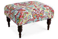 Dress It Up | One Kings Lane -- June Ottoman, Red Damask