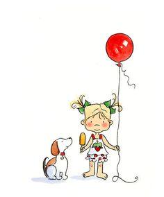 Amariah Rauscher - girl with balloon and puppy