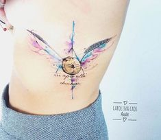 Amazing watercolor tattoo style of Golden Snitch motive from Harry Potter done by tattoo artist Carolina Caosavalle Mini Tattoos, Body Art Tattoos, Small Tattoos, Tattoos For Guys, Tattoos For Women, Golden Snitch Tattoo, Expecto Patronum Tattoo, Harry Tattoos, Always Tattoo