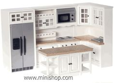 White and Marble Contemporary Dollhouse Miniature Kitchen
