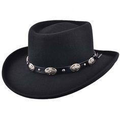 Mens Black Classic 100% Wool Felt Crushable Gambler Cowboy Hat Faux Leather  Band Sombreros f4e1c9867f11