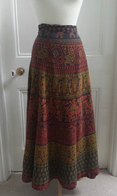 Vtg 70s Wrap Around Ethnic Maxi Skirt Bohemian Hippie India Boho Gypsy 8 10 12
