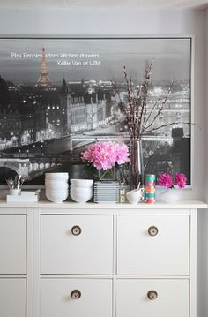 interior design vignettes using peonies    picture of Paris! Feels like you're there!! Such a good idea to use ...