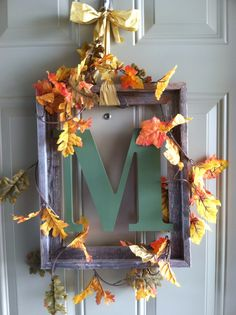 DIY Fall door decoration. Could also do for Xmas with garland and lights