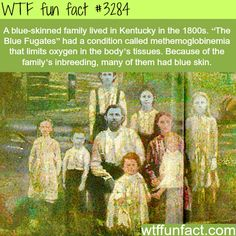 "One of the many odd-but-true stories of Appalachian history is the curious tale of the ""Blue People of Kentucky,"" also known as, ""The Blue Fugates of Troublesome Creek"" or, … Creepy Facts, Wtf Fun Facts, True Facts, Funny Facts, Strange Facts, Random Facts, Awesome Facts, Random Stuff, Gi Joe"