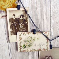 """Curious Sofa - Clip Chain-need this for my banners, too cute.Long distressed chain can be used for displaying items in your studio or craft show but also perfect for Christmas cards or party decorations. Metal with black paint.  15 clips spaced about every 5"""". Rings on each end to hang.6' long 14.95"""